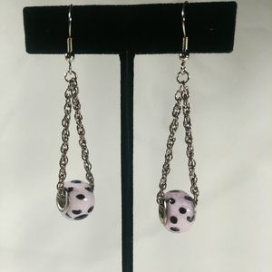 Jewelry - Pink & Black Bead Dangling Chain Earrings